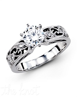18K White Gold Engagement Ring 0.07 RD