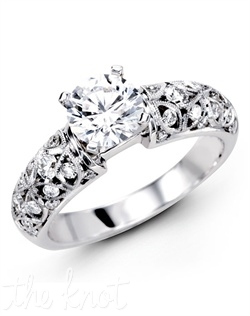18K White Gold Engagement Ring 0.50 Round Diamonds