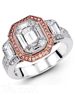 18K White Gold Engagement Ring 0.28 Round Diamond, 0.11 Pink Diamond, 0.49 Emerald Cut Diamond, 1.00 Mosaic