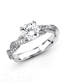 18K White Gold Engagement Ring 0.22 RD