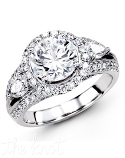 18K White Gold Engagement Ring 0.63 Round Diamond, 0.51 Pear Shaped Diamonds