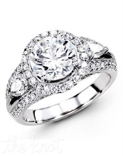 18K White Gold Engagement Ring 0.63 Round Diamond, 0.51 Pear Shaped Diamonds
