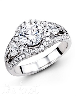 18K White Gold Engagement Ring 0.62 Round Diamond, 0.40 Pear Shaped Diamonds