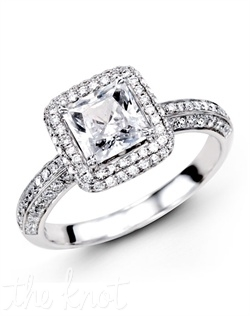 18K White Gold Engagement Ring 0.62 Round Diamond