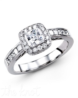 18K White Gold Engagement Ring 0.13 Round Diamond, 0.34 Princess Cut Diamond