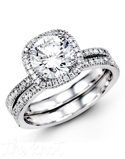 18K White Gold Wedding Set, 1.00 Round Diamond