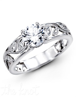 18K White Gold Engagement Ring, 0.09 Round Diamond