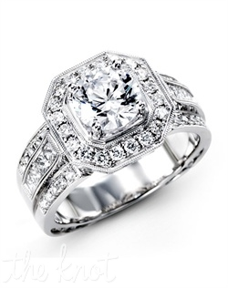 18K White Engagement Ring, 0.60 RD, 0.40 PC
