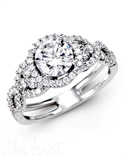 18K White Gold Engagement Ring, 0.59 Round Diamond