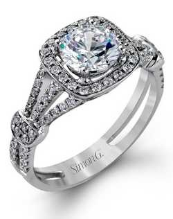 18K White Gold Engagement Ring, 0.42 Round Diamond