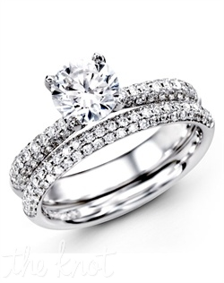 18K White Gold Wedding Set, 0.72 Round Diamond