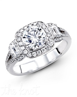 18K White Gold Engagement Ring, 0.38 Round Diamond, 0.43 Emerald Cut Diamond