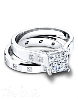 2964/P &amp; 4016/B(ring 0.14ct ttl; band 0.20ct ttl) A match made in heaven. The Eden &amp; Ellery Set marries clean, modern forms with an innate sense of drama. Drawing all eyes to your center stone, both Eden Engagement Ring and Ellery Wedding Band include burnish set, princess diamonds that are breathtaking in their own right. Hand crafted in either Platinum or 18k Gold.