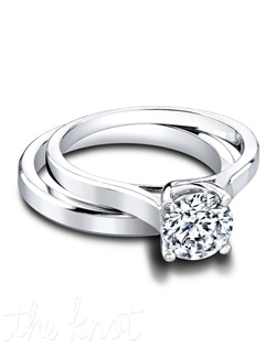 2972 &amp; 3025 The classic solitaire and the simple band make a lovely couple. The sleek simplicity of the 2.5mm Ember Wedding Band is the perfect complement to the Elisabeth Engagement Ring&#39;s unique lattice design. Both styles share subtle details like a slightly beveled edge that lets your center stone be the star. Available in several widths. Can be custom made to fit any shape center stone. Hand crafted in either Platinum, 18k or 14K Gold.