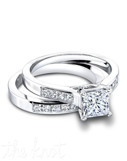 2974 & 2974/B (ring 0.36ct ttl; band 0.45ct ttl ) Brilliantly matched. Our Emma Engagement Ring shines even more vividly beside the clean lines and channel set diamonds of our Emma Wedding Band. With glorious princess cut diamonds and beautifully balanced proportions, the Emma Wedding Set enhances any center stone you desire. Hand crafted in either Platinum, 18k or 14k Gold.