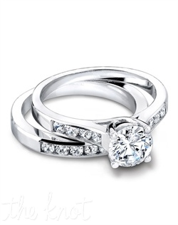 2976 & 2976/B (ring 0.20ct ttl; band 0.22 ttl) An ode to love. The Eve Wedding Set is the perfect marriage of our Eve Engagement Ring and Eve Wedding Band. Eve's round diamonds in a chic channel setting are hand placed to accentuate your choice of center stone. Hand crafted in either Platinum, 18k or 14k Gold.
