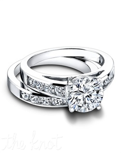 3108 & 3108/B (ring 0.42ct ttl; band 0.54ct ttl) A classic silhouette with a unique feeling. The Norah Wedding Set is comprised of a channel set, round diamond wedding band and a simple and stunning matching engagement ring. Meant to be together, both Norah rings line up beautifully when paired. The band is available in an eternity version where diamonds circle the finger. Hand crafted in either Platinum or 18k Gold.