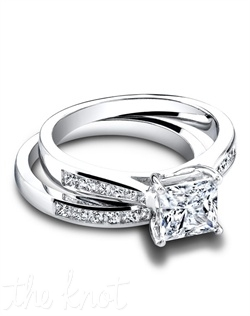 3271 & 3271/B (ring 0.35ct ttl; band 0.46ct ttl) Light up the room. A wedding set that charms and delights, The Taylor Wedding Set's princess cut diamonds sparkle in their channel setting. The Taylor Wedding Band looks wonderful with engagement ring styles, and is available in halfway and eternity. Hand crafted in either Platinum, 18k or 14k Gold.