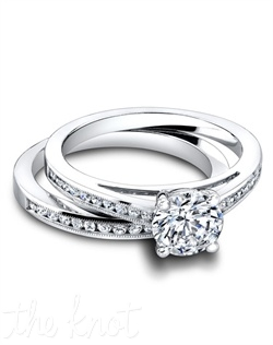 3308 & 3308/B (ring 0.20ct ttl; band 0.22ct ttl ) Feminine and simple. The Harmony Wedding Set is two vintage inspired styles that come together as one. The engagement ring's delicate silhouette is accentuated by round diamonds flowing halfway around the ring. Its matching band is the perfect partner in simplicity, and also available in an eternity style. Hand crafted in either Platinum, 18K or 14k Gold.