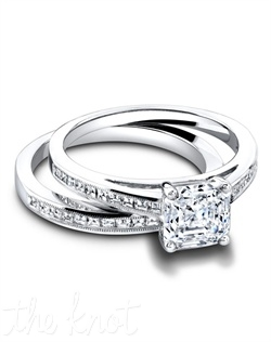 3309 & 3309/B(ring 0.30ct ttl; band 0.33ct ttl) Isn't it romantic? The Hayley Wedding Set brings together two delicate, vintage inspired designs to create an elegant wedding set. Hayley's band and engagement ring both feature glamorous carrés cut diamonds in a chic channel setting. The petite millgrain finish gives the set an antique feel. Also available in eternity. Hand crafted in either Platinum, 18K or 14k Gold.