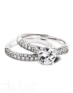 1500 & 1500/B (ring 0.41 ttl; band 0.49ct ttl) Love is eternal. Our Tatiana Wedding Set features stunning pavé set round diamonds and a tapered design. This unique design allows your center stone to be the star. The Tatiana Wedding Band is the perfect partner, with its matching brilliant diamonds. Hand crafted in either Platinum, 18k or 14k Gold.