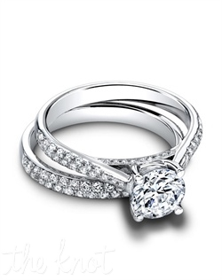 1505 & 1505/B(ring 0.28 ttl; band 0.31 ttl) Understated glamour defines the Tory Set. Together, the Tory Engagement Ring and Tory Wedding Band create a chic, timeless look. Can be custom made to fit any shape center stone. Hand crafted in either Platinum, 18K and 14K Gold.