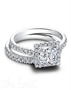 1608/PR & 1608/B (ring 0.40 ttl; band 0.27 ttl) A charismatic and intriguing couple. The Tate Princess Engagement Ring meets looks so right next to our Tate Wedding Band. Incredible light, in a chic and feminine matched set. Can be custom made to fit any shape center stone. Hand crafted in either Platinum, 18K or 14K Gold.