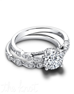 1609 &amp; 1609/B (ring 0.23 ttl; band 0.11 ttl) The Lily Wedding Band and Engagement Ring blend perfectly together, yet keep their sparking individuality. A teardrop design articulates each segment, and the millgrain finish makes every detail even more special. Can be custom made to fit any shape center stone. Hand crafted in either Platinum, 18K or 14K Gold.
