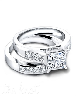 3146 & 3146/B (ring 0.60ct ttl; band 0.80ct ttl;) Channel set, princess cut diamonds give this wedding set its sparkling personality. A seamless fit in a timeless style, our Cecily Wedding Band was designed to match beautifully with our Cecily Engagement Ring. Wedding band is available in eternity and halfway versions. Hand crafted in either Platinum, 18k or 14k Gold.