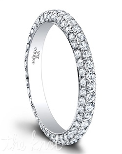 1500/E (0.56 ttl) Lovely Tatiana, made even more brilliant. The Tatiana Eternity Band's hand set pavé diamonds lend it a thrilling sparkle. Wear it on its own, with a matching Tatiana Engagement Ring, or choose your own engagement style. Available in several widths. Can be custom made to fit any shape center stone. Hand crafted in either Platinum or 18K Gold.