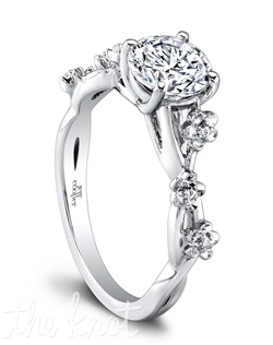 1614 (0.03 ttl) Our Leah Engagement Ring abounds with lavish detail. A fabulous cherry blossom inspired motif adorns the band, and a distinctive dovetail setting highlights the beauty of your center stone. Can be custom made to fit any shape center stone. Hand crafted in either Platinum, 18k or 14K Gold.
