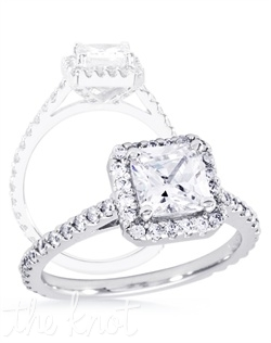 Square halo diamond engagement ring.  This ring is shown in 14K white gold with approx 0.65 cts TW of melee diamonds.