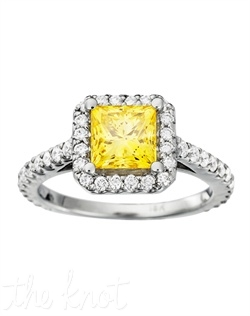 She (and all her friends) will LOVE this vintage-style setting that supremely showcases a scintillating yellow princess center stone.