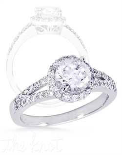 Split-shank and halo diamond engagement ring.  This ring is shown in 14K white gold with approx 0.41 cts TW of melee diamonds.