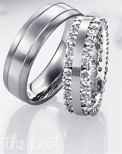 The spectacular Jurrer-Jacot men's band 6mm wide and is tone on tone, platinum and 18K white gold.  The women's band is pictured in 18K white gold and has 2.1 carats TW of FG VS melee diamonds.