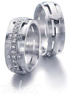 This brilliantly sculpted Jurrer-Jacot men's band is 6mm wide and 18K white gold.  The women's band is pictured in 18K white gold as well, with 0.72cts TW of melee diamonds.