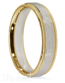 DI Design 14K two-tone gold wedding band has a hammered center finish coupled high polished edges.