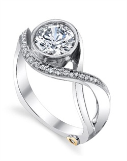 Shown with a 1ct center diamond. Twenty-four diamonds totaling 0.1025ct. Available in yellow, white, or rose gold, and platinum. Rings can be custom made to fit any size or shape diamond or color center stone. Center stone sold separately.