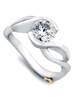 Shown with a 1ct center diamond. Solitaire engagement ring. Available in yellow, white, or rose gold, and platinum. Rings can be custom made to fit any size or shape diamond or color center stone. Center stone sold separately.