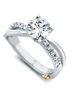 Shown with a 1ct center diamond. Eleven diamonds totaling 0.195ct. Available in yellow, white, or rose gold, and platinum. Rings can be custom made to fit any size or shape diamond or color center stone. Center stone sold separately.