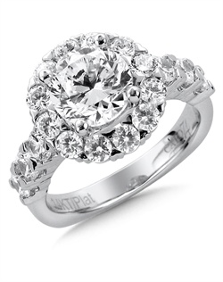 14K White Gold semi-Mount ring featuring 1.53ct Caro 74 diamonds.