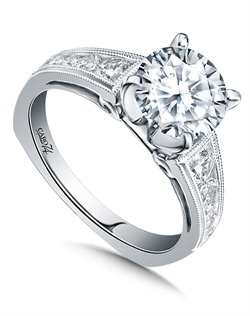 14K White Gold semi-Mount ring featuring 0.55ct Caro 74 diamonds.