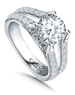 14K White Gold semi-Mount ring featuring 0.78ct Caro 74 diamonds.
