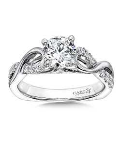 14K White Gold semi-Mount ring featuring 0.23ct Caro 74 diamonds.