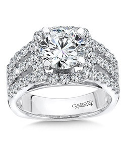 14K White Gold Semi-Mount Ring featuring 1.30ct Caro 74 diamonds.