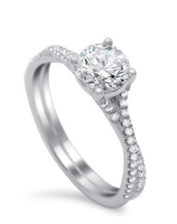 4-prong solitaire with twisted shank containing .25 ct TW of diamonds.