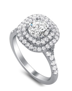 Gorgeous double halo ring with diamonds covering shank. .62 ct TW.