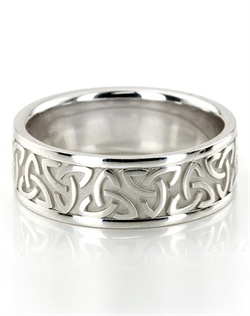 This gorgeous 8mm wide Celtic wedding band has elegant Celtic knots at the center. This wedding band is also available in 7, 9, 10mm. The band is high polished. Available in 14k, 18k, and platinum. Also available for women.