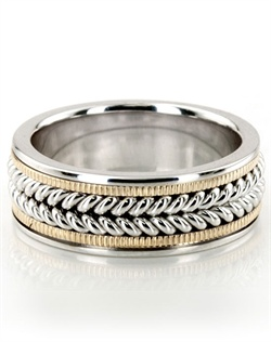 A stylish piece, this 9mm wide Handcrafted wedding ring has a classic wide braid at the center, and a beaded design on each side. It's complete with shiny edges. This wedding band is also available in 7, 8, 10, 11, 12mm. The ring is high polished all over. Available in 14k, 18k, and platinum. Also available for women.