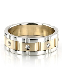 A bestseller! This 8.5mm wide Rolex style Diamond wedding band has round shaped diamonds with a burnish setting. The ring is set with 8 Round Brilliant Cut Diamonds all around the center of the ring. Each diamond weighs 0.05ct, which is a total of 0.4ct. The diamonds are graded G in color and SI1 in clarity. Center of the band is satin finished. Each side is high polished. Available in 14k, 18k, platinum, and palladium. Also available for women.